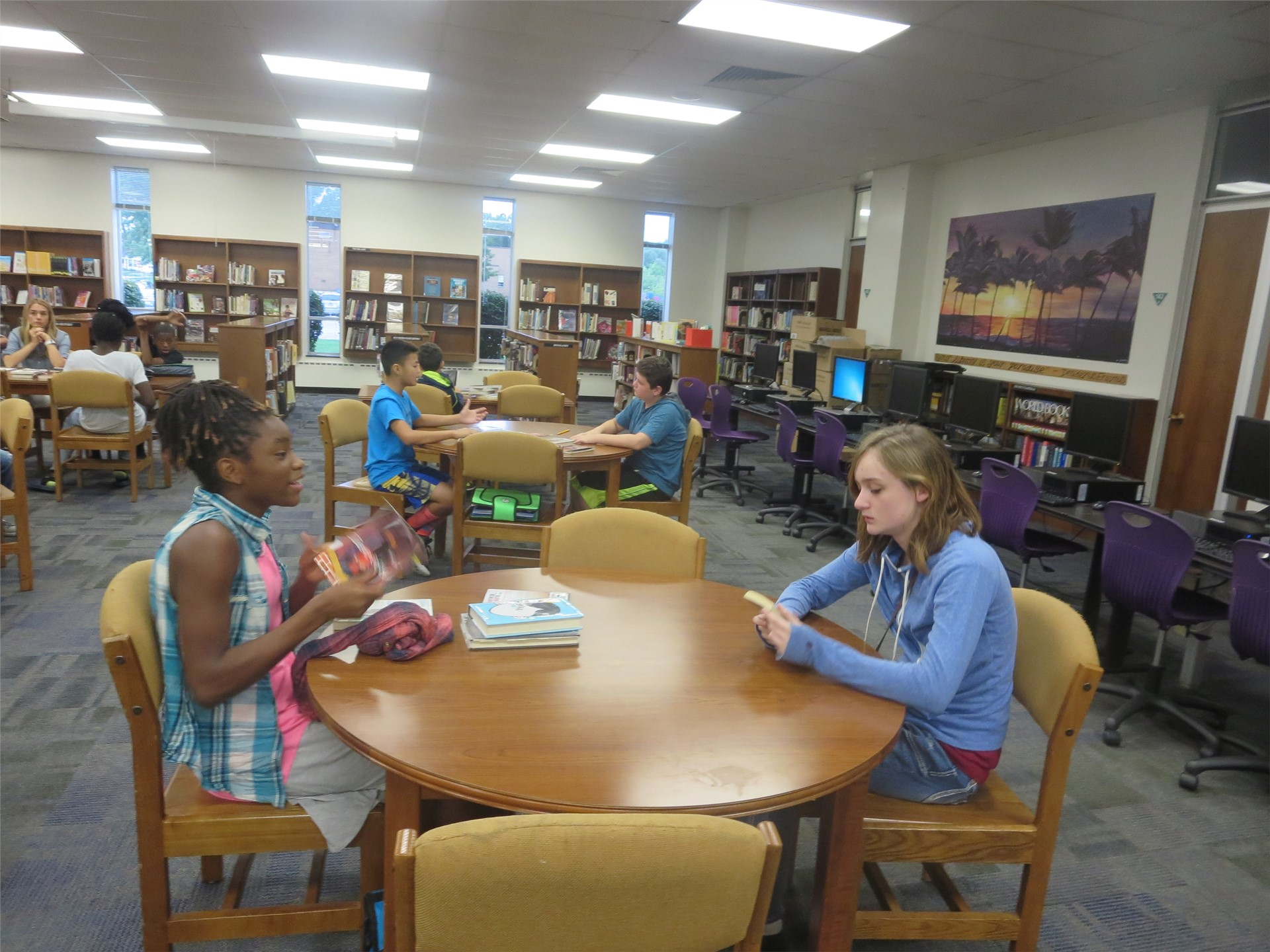 Mrs. Mayher's IE Book Tasting with Librarian Mrs. Hubler